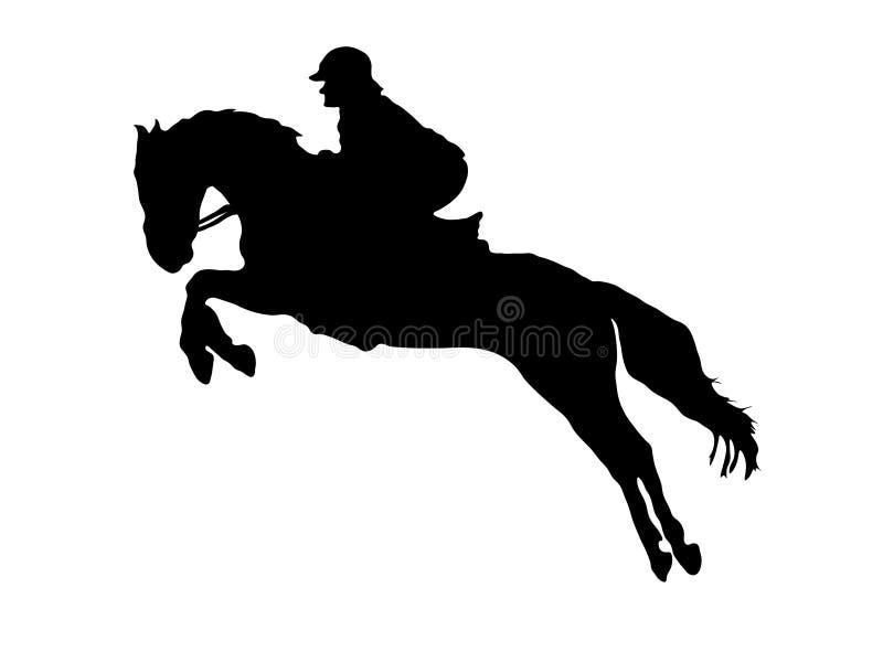 Silhueta do salto do cavalo e do cavaleiro ilustração stock