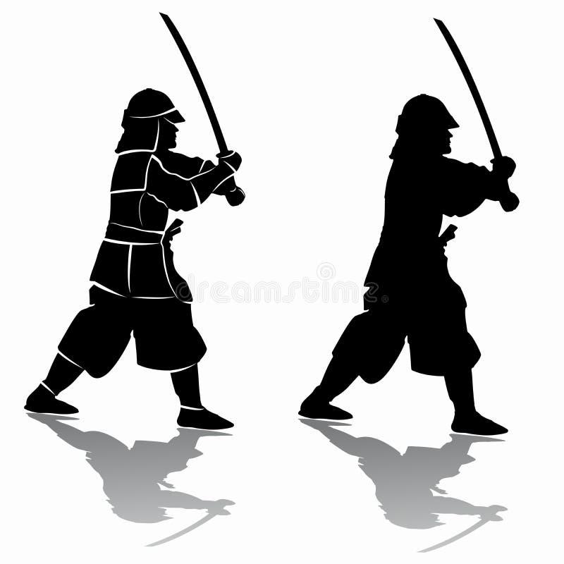 Silhueta do samurai, tração do vetor ilustração royalty free