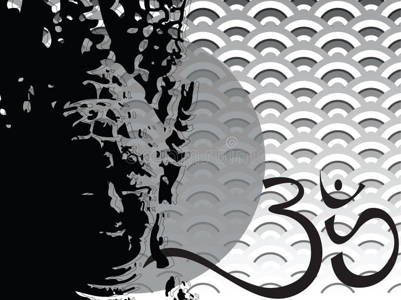 Silhueta do scallop do ohm de Buddha ilustração royalty free