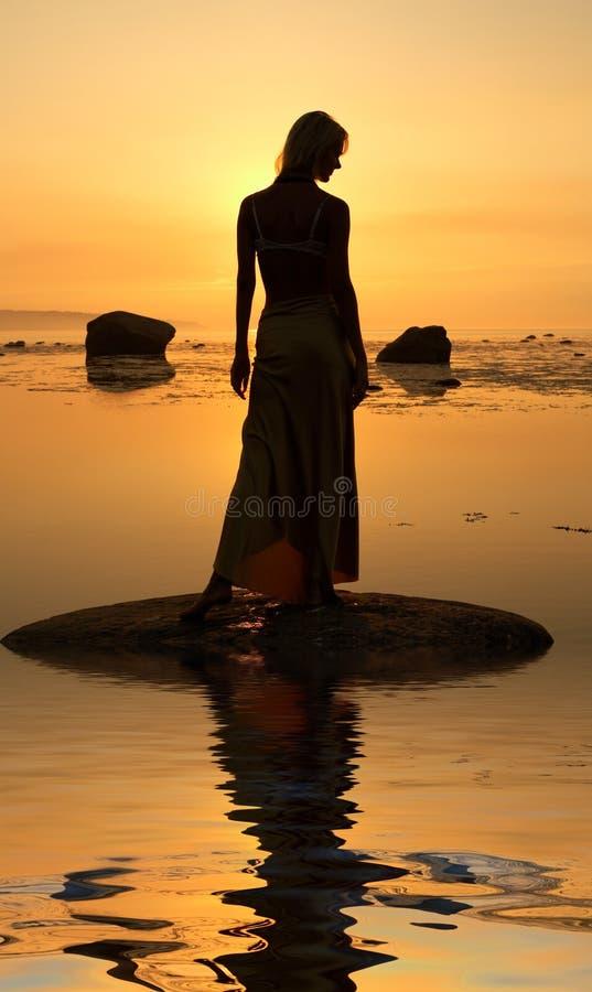 Silhueta do Seashore fotografia de stock