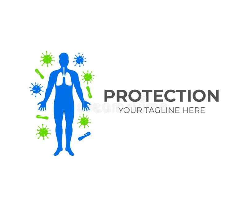 Silhueta do ser humano com pulmões e em torno dele vírus e micróbios, projeto do logotipo Cuidados médicos, saúde, medicina e ciê ilustração royalty free