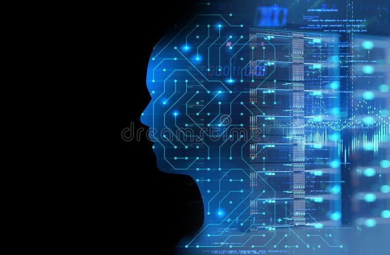 Silhueta do ser humano virtual no mal da tecnologia 3d do teste padrão do circuito ilustração royalty free