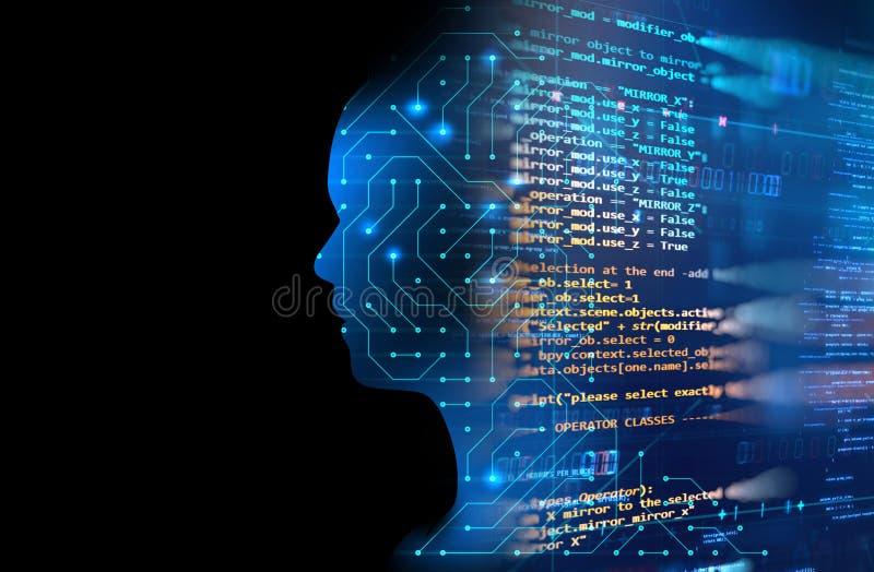 Silhueta do ser humano virtual no mal da tecnologia 3d do teste padrão do circuito ilustração stock