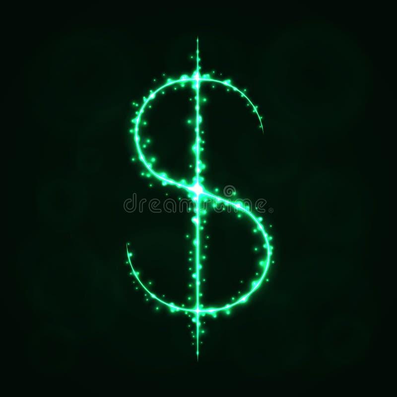Silhueta do sinal de dólar das luzes ilustração do vetor