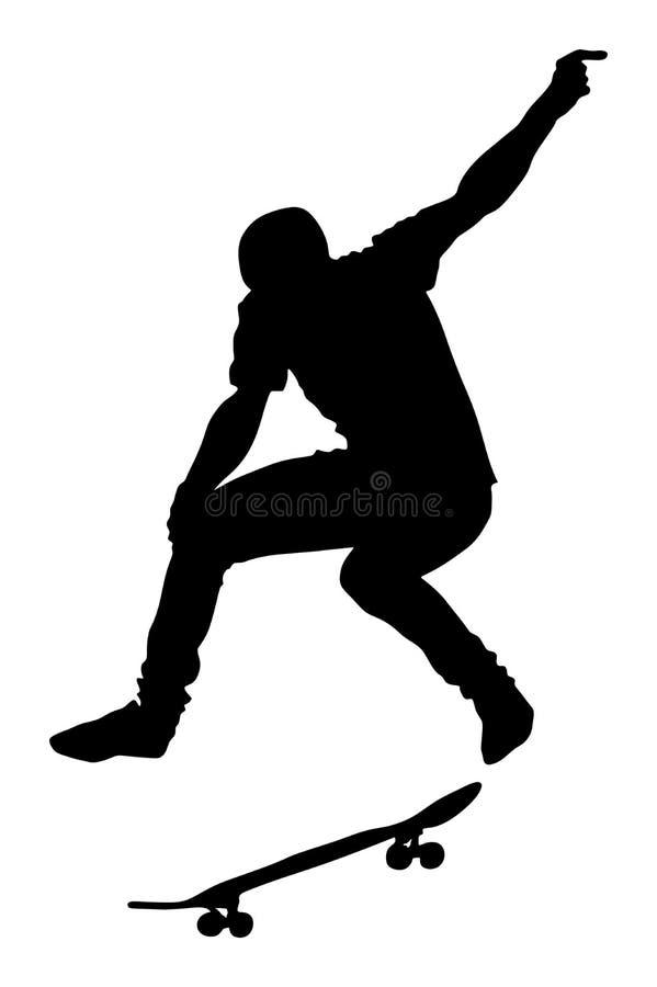 Silhueta do skate Skater no parque do patim, ilustração do vetor