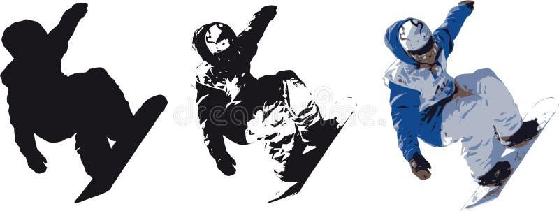 Silhueta do Snowboarder ilustração do vetor