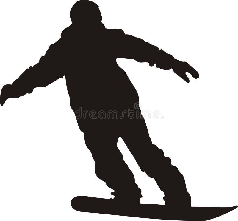 Silhueta do Snowboarder ilustração stock