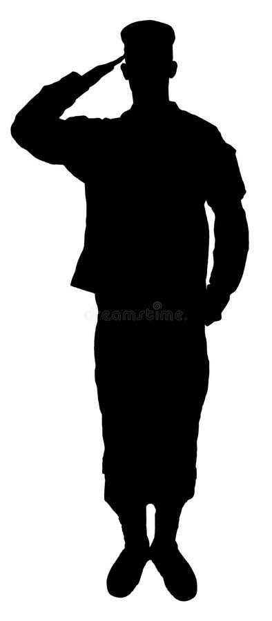 A silhueta do soldado de saudação do exército isolada no branco