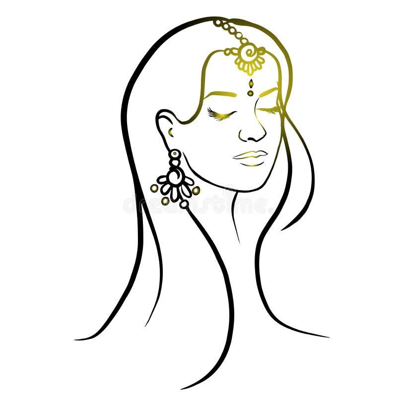 Silhueta do sumário da cabeça da mulher Ilustração isolada tirada mão do vetor Linhas de tinta preta no fundo branco ilustração do vetor