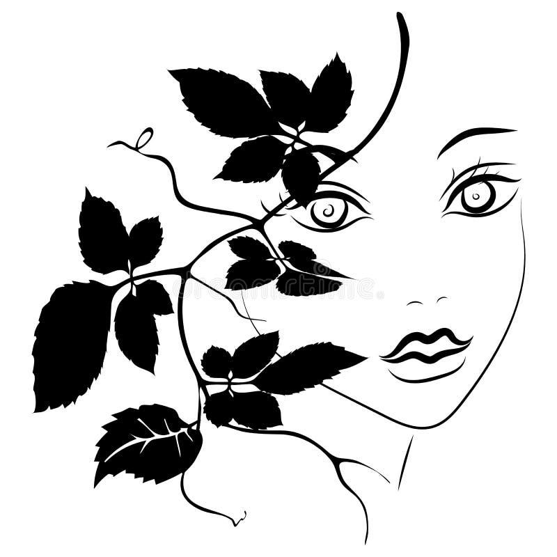 Silhueta do sum?rio da cara da mulher Projeto da forma do penteado Linha cara da tinta da arte no fundo branco Ramos com folhas E ilustração stock