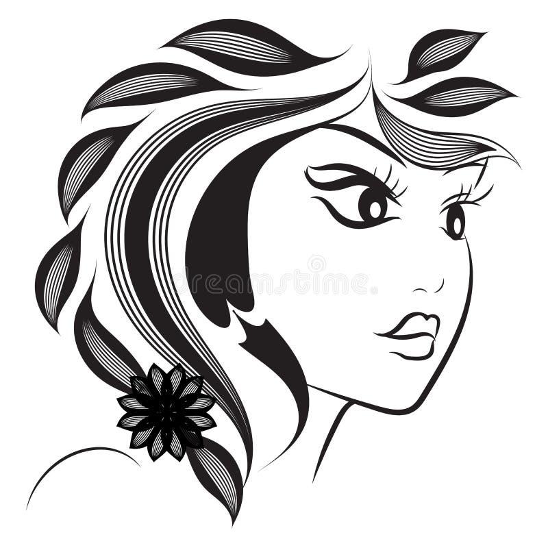 Silhueta do sum?rio da cara da mulher Projeto da forma do penteado Linha cara da tinta da arte no fundo branco Vetor desenhado m? ilustração royalty free