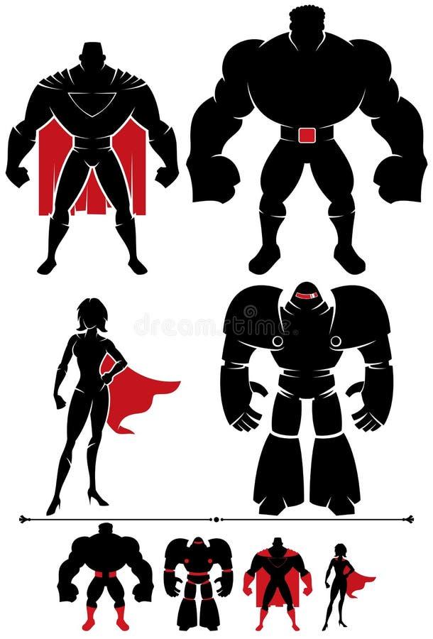 Silhueta do super-herói ilustração stock