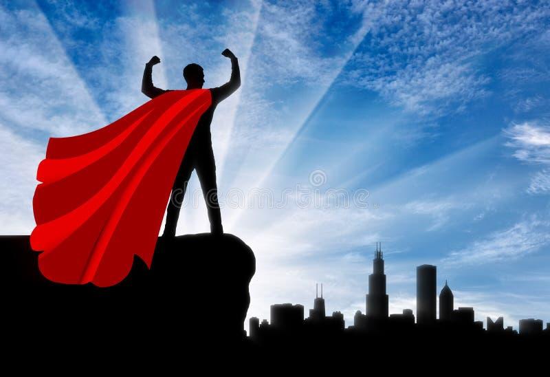 Silhueta do superman seguro do homem de negócios que olha a cidade da metrópole ilustração royalty free