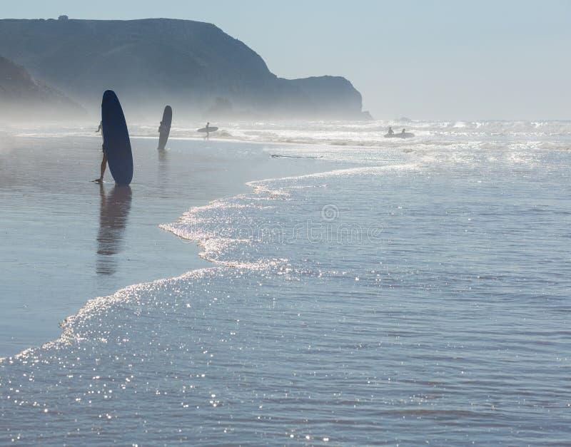 Silhueta do surfista na praia do oceano fotos de stock
