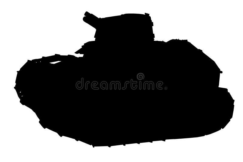 Silhueta do tanque imagem de stock