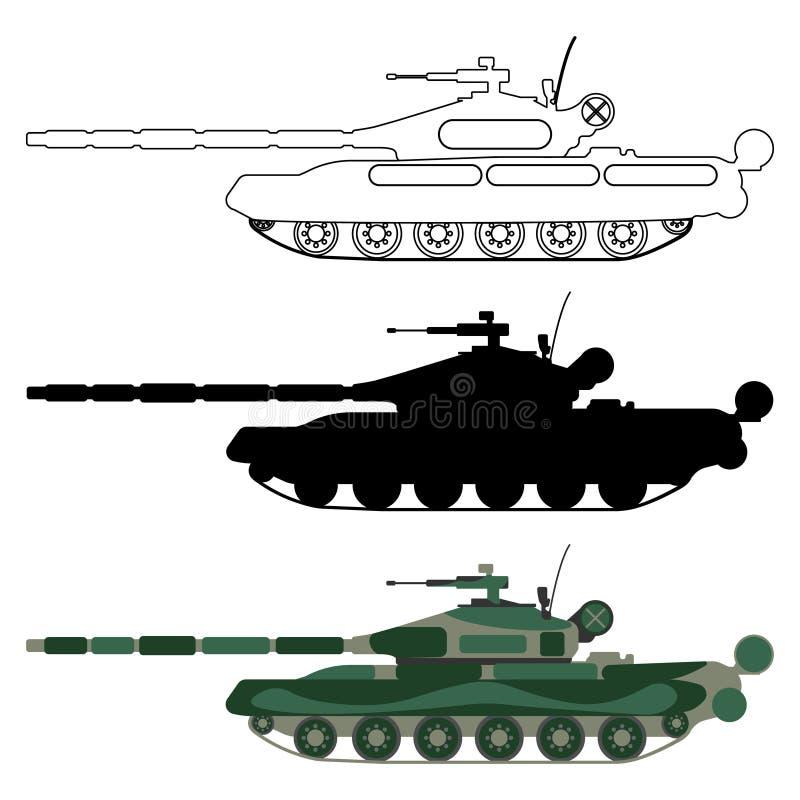 Silhueta do tanque, desenhos animados, esboço Ícone ajustado do equipamento militar ilustração do vetor