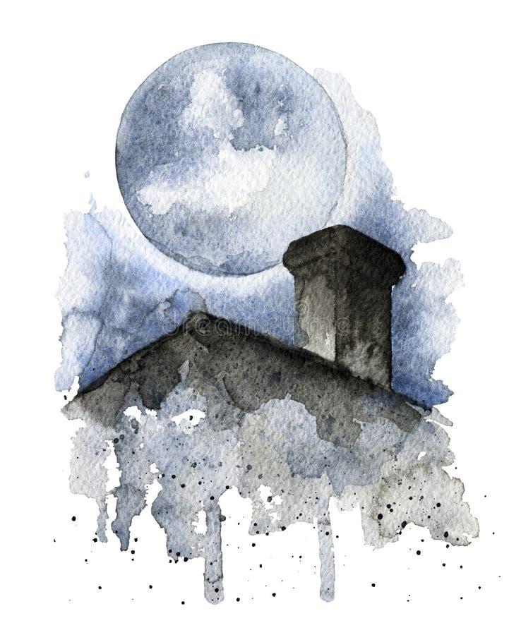 Silhueta do telhado sobre o céu noturno e a Lua cheia escuros ilustração do vetor