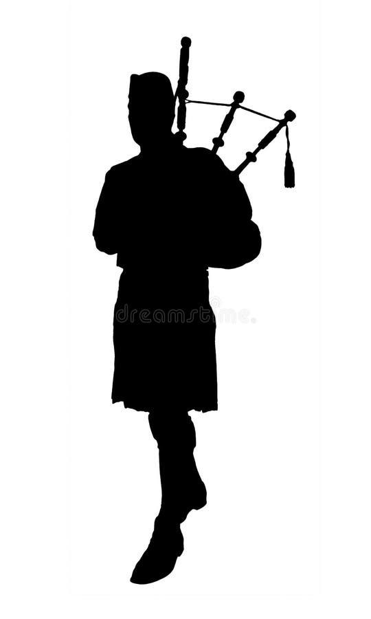 Silhueta do tocador de gaita-de-foles ilustração royalty free