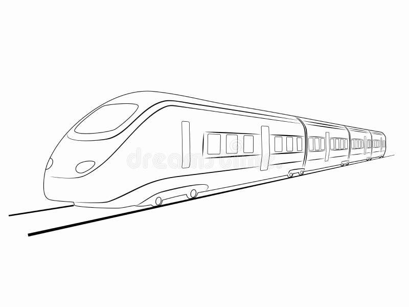 Silhueta do trem Desenho do vetor ilustração stock