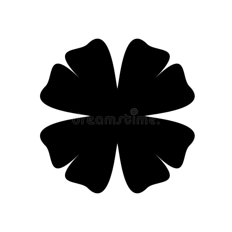 Silhueta do trevo - ícone do trevo da folha do preto quatro Elemento do projeto do tema da boa sorte Ilustração simples do vetor  ilustração do vetor
