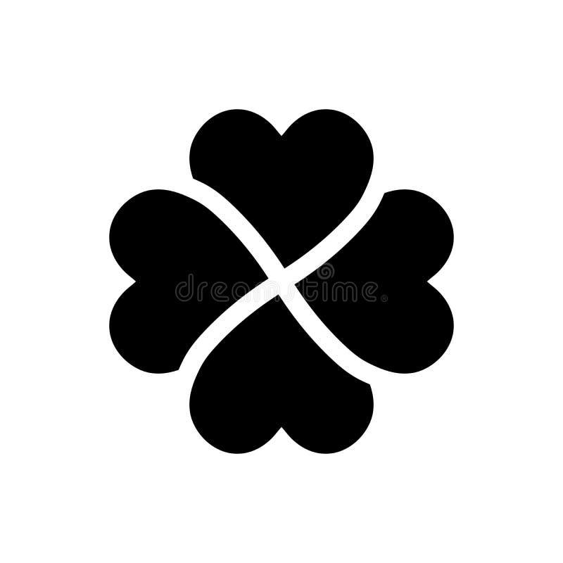 Silhueta do trevo - ícone do trevo da folha do preto quatro Elemento do projeto do tema da boa sorte Vetor geométrico simples da  ilustração stock