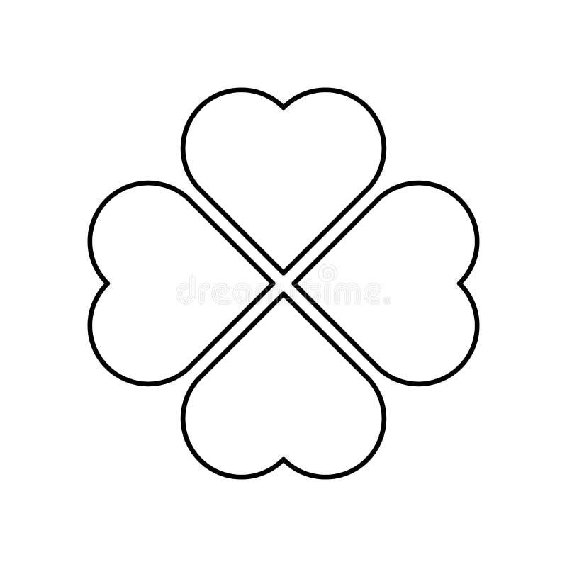 Silhueta do trevo - ícone preto do trevo da folha do esboço quatro Elemento do projeto do tema da boa sorte Forma geométrica simp ilustração royalty free