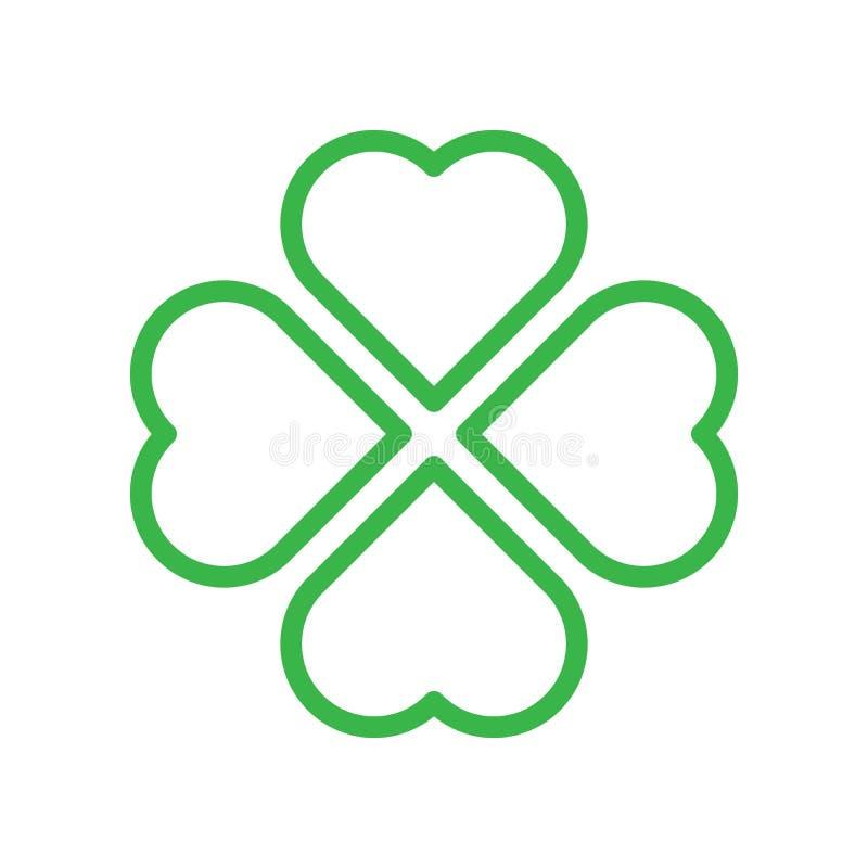 Silhueta do trevo - ícone verde do trevo da folha do esboço quatro Elemento do projeto do tema da boa sorte Forma geométrica simp ilustração stock