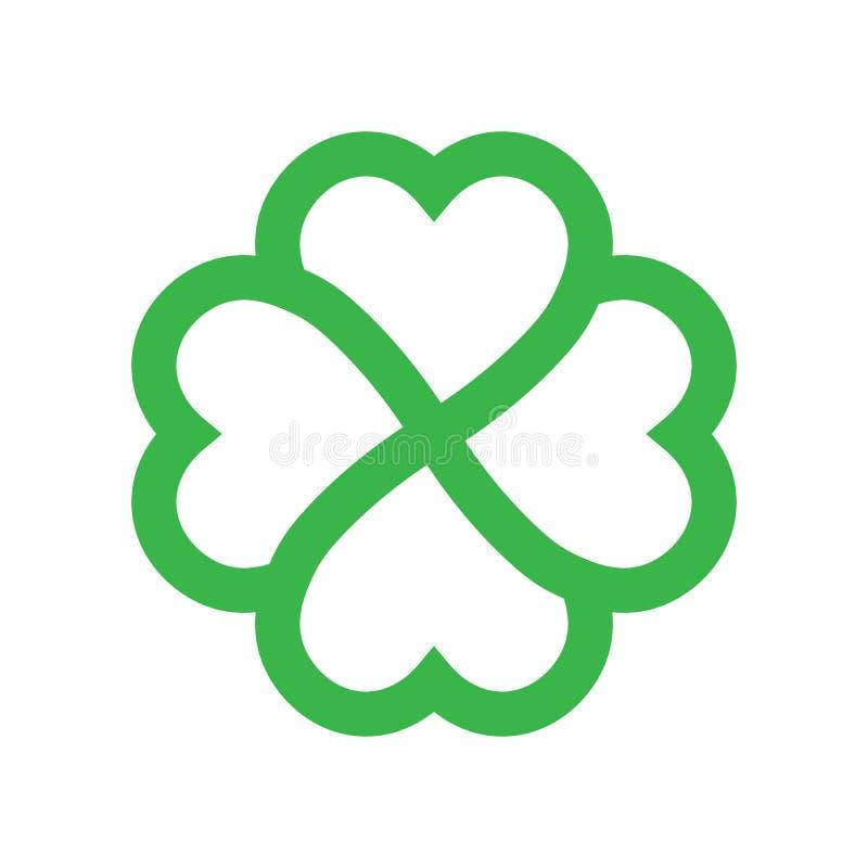 Silhueta do trevo - ícone verde do trevo da folha do esboço quatro Elemento do projeto do tema da boa sorte Forma geométrica simp ilustração do vetor