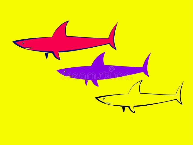 Silhueta do tubarão ilustração stock