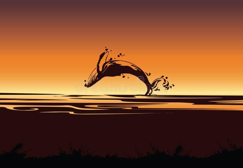 Silhueta do tubarão de salto, fundo do mar com peixes ilustração do vetor
