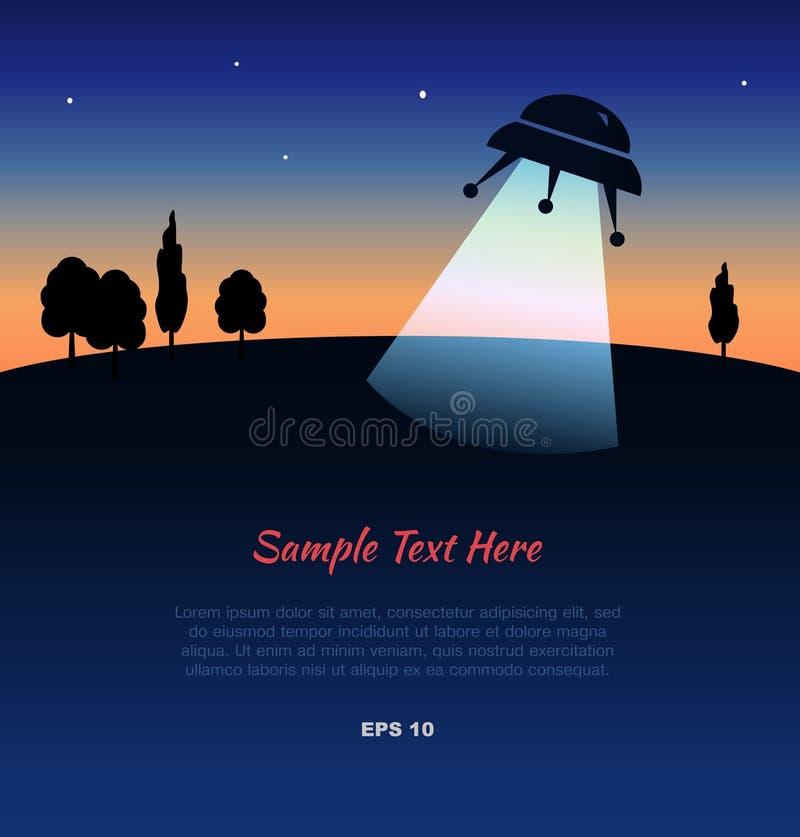 Silhueta do UFO no por do sol ilustração do vetor