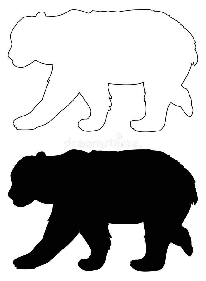 Silhueta do urso - animal dos animais selvagens ilustração stock