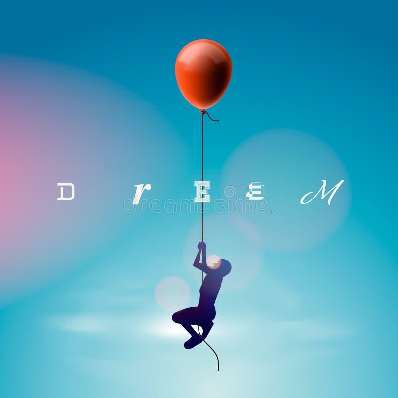 Silhueta do vôo do homem por um balão ilustração stock
