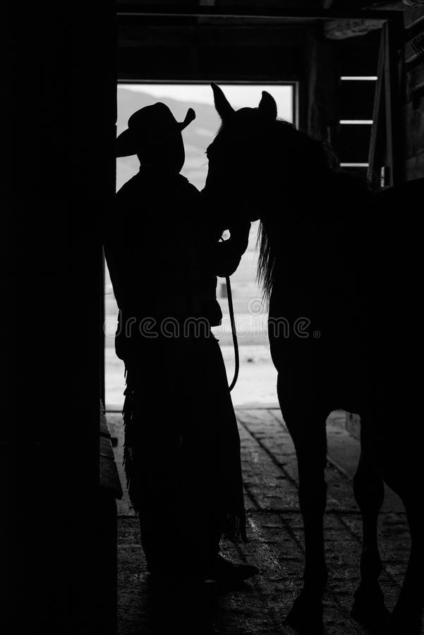Silhueta do vaqueiro e do cavalo imagens de stock
