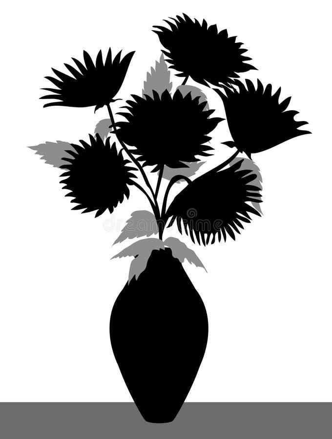 Silhueta do vaso do girassol - vetor ilustração stock