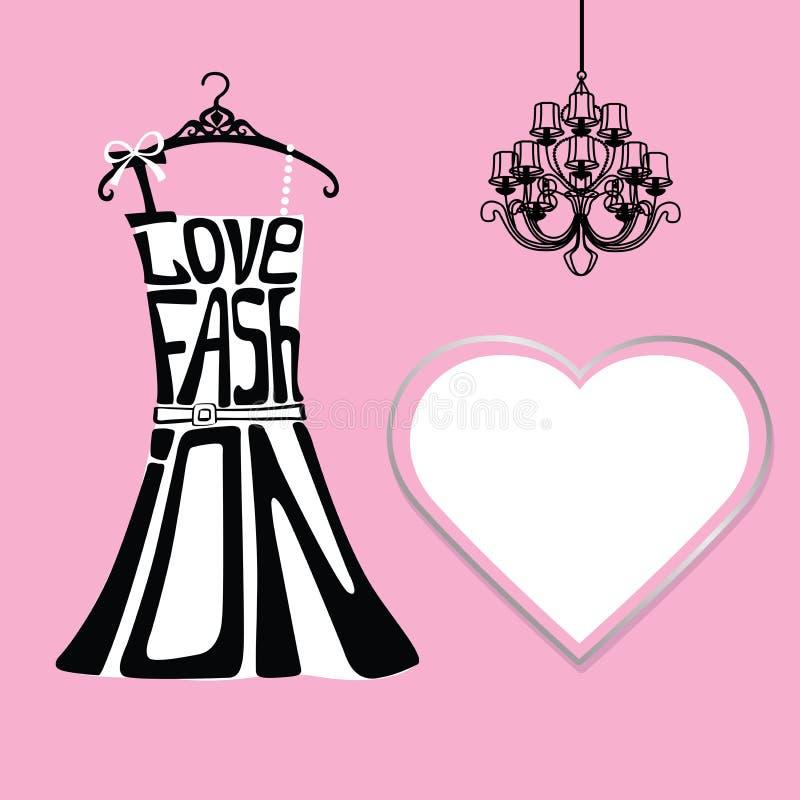 Silhueta do vestido da mulher das palavras, da etiqueta e do candelabro ilustração royalty free