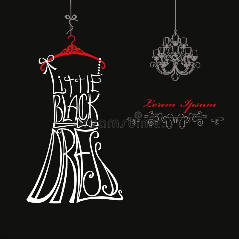 Silhueta do vestido da mulher Palavras pouco vestido preto ilustração royalty free