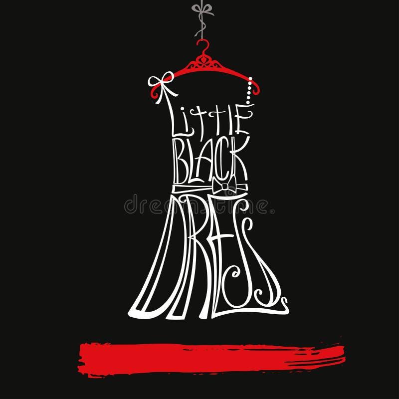 Silhueta do vestido da mulher Pouco vestido preto branco ilustração do vetor