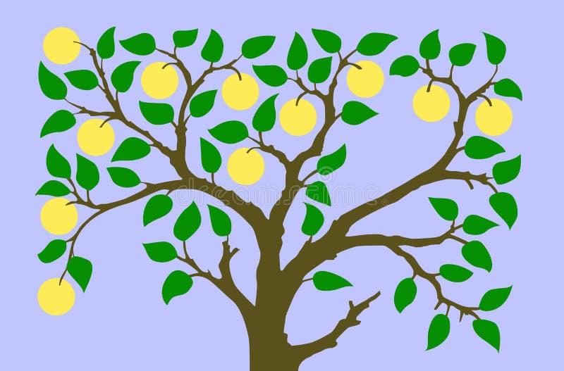 Silhueta do vetor às árvores do aple ilustração royalty free