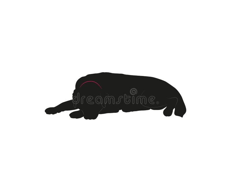 Silhueta do vetor do cão grande no fundo branco ilustração do vetor