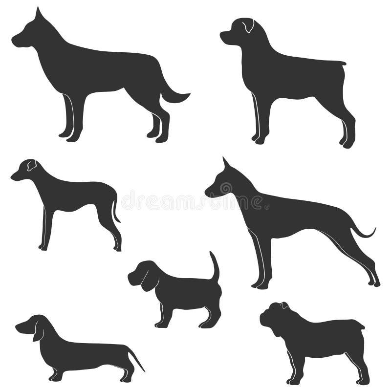 Silhueta do vetor do cão no fundo branco Coleção das silhuetas de vários cães ilustração do vetor