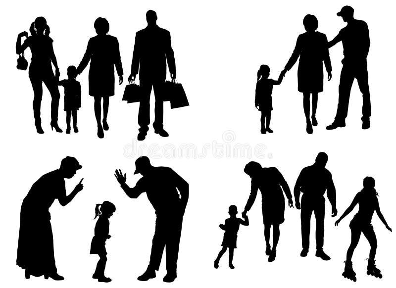 Silhueta do vetor da família ilustração royalty free