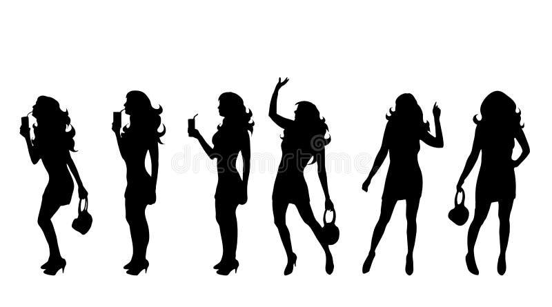 Silhueta do vetor da mulher que dança ilustração do vetor