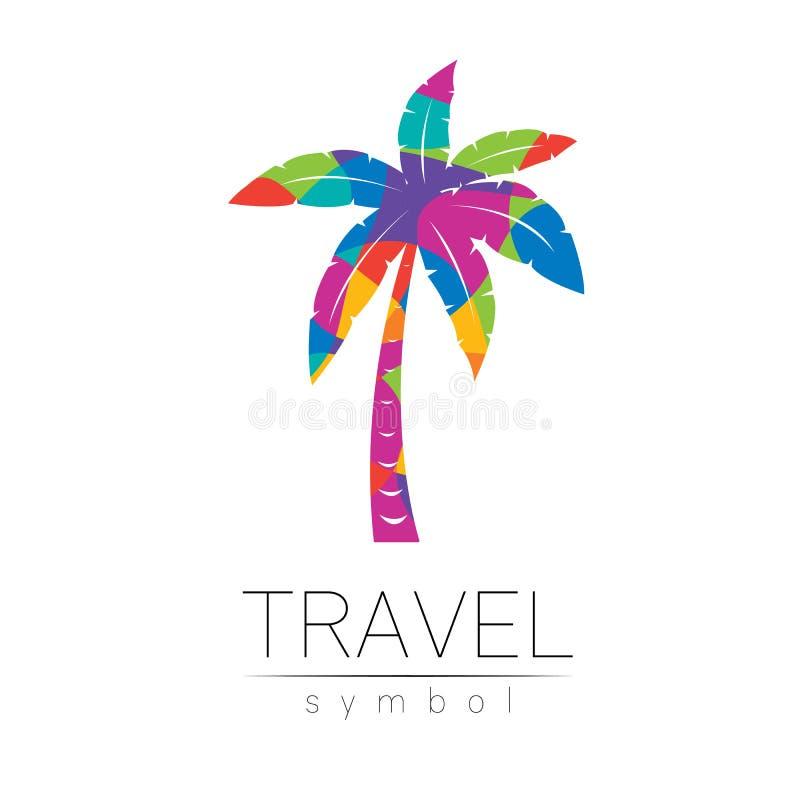 Silhueta do vetor da palmeira isolada no fundo branco Símbolo de Palma, estilo moderno do arco-íris da cor Logotype para ilustração do vetor