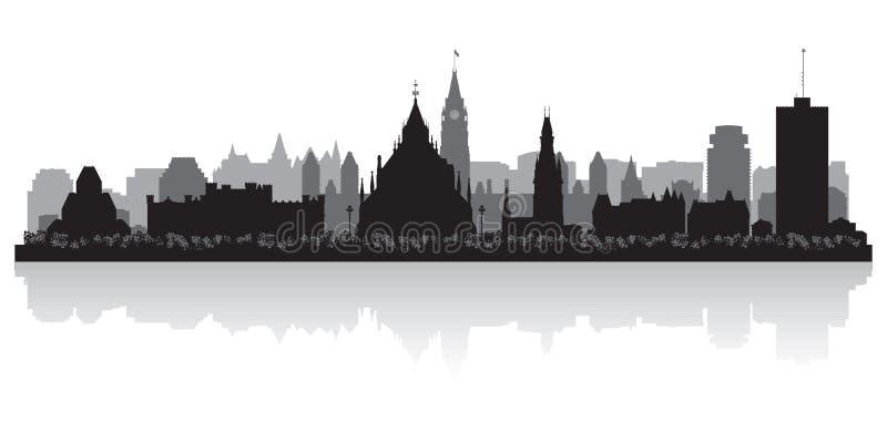 Silhueta do vetor da skyline da cidade de Ottawa Canadá ilustração royalty free