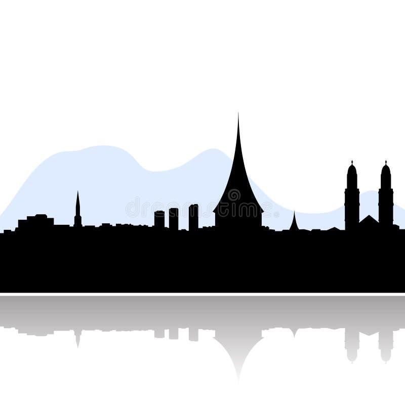 Silhueta do vetor da skyline de Zurique