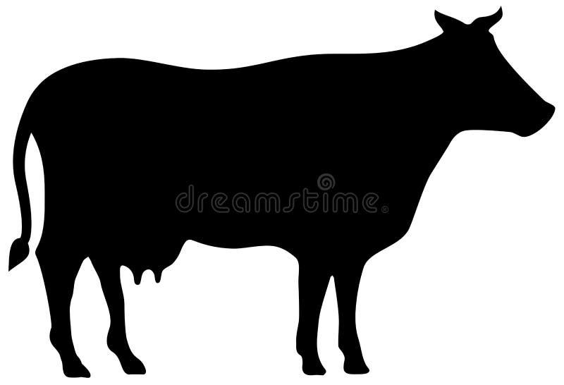 silhueta do vetor da vaca ilustração stock