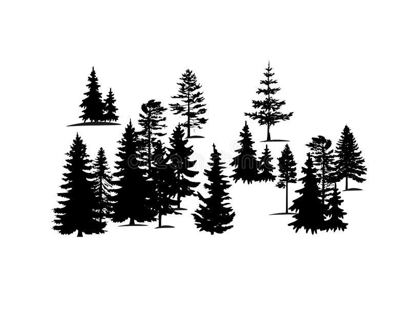 Silhueta do vetor das árvores de floresta Ajuste das silhuetas do vetor de árvores coníferas da floresta ilustração royalty free