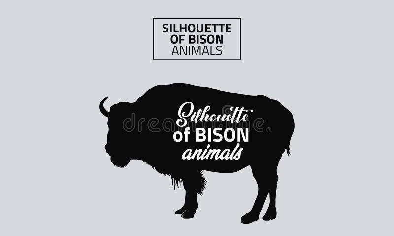 Silhueta do vetor de animais do bisonte ilustração do vetor