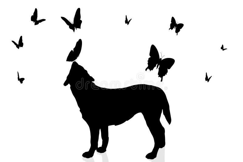 Silhueta do vetor de um cão ilustração stock
